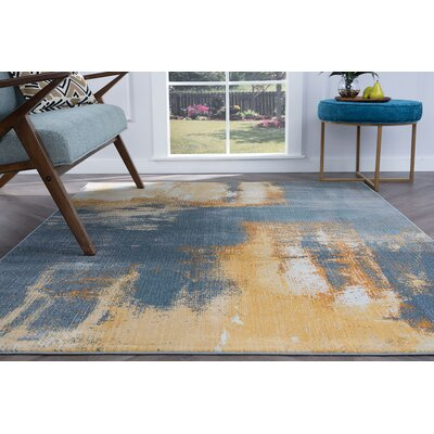 Ceasar Modern Yellow/Blue Area Rug Rug Size: Rectangle 710 x 103