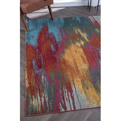 Ceasar Modern Pink/Blue Area Rug Rug Size: Rectangle 710 x 103