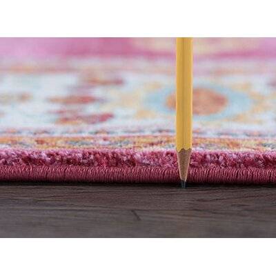 Dominick Modern Oriental Pink Area Rug Rug Size: Rectangle 53 x 73