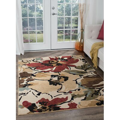 Laguna Beige Floral Area Rug Rug Size: Rectangle 76 x 910