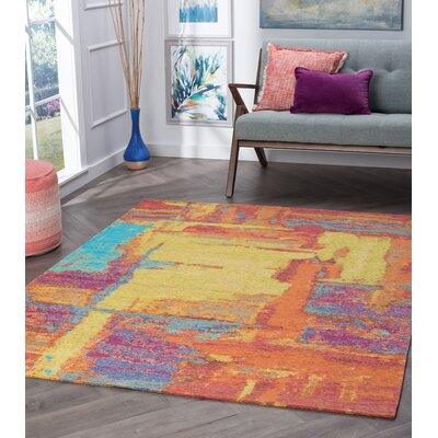Asdsit Orange Area Rug Rug Size: Rectangle 67 x 96