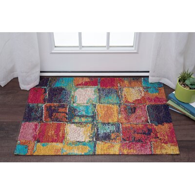 Asdsit Pink/Blue Area Rug Rug Size: Rectangle 67 x 96