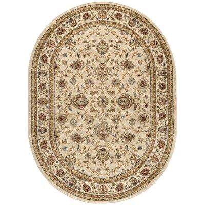 Lapoint Beige 5 ft. 3 in. Round Traditional Area Rug Rug Size: Oval 67 x 96