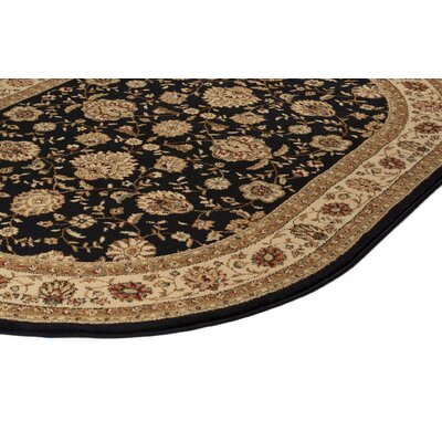 Lapoint Black 6 ft. 7 in. x 9 ft. 6 in. Oval Traditional Area Rug Rug Size: Oval 67 x 96