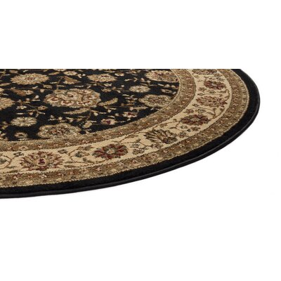 Lapoint Black 6 ft. 7 in. x 9 ft. 6 in. Oval Traditional Area Rug Rug Size: Round 710
