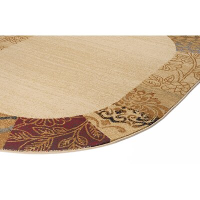 Stromberg Beige 6 ft. 7 in. x 9 ft. 6 in. Oval Transitional Area Rug Rug Size: Oval 67 x 96