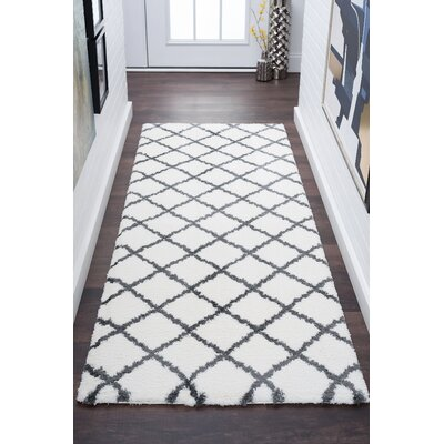 Arthemus Cream/Charcoal Area Rug Rug Size: Runner 27 x 73