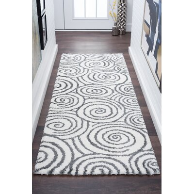 Arthemus Cream/Charcoal 2 Ft. 7 In. x 7 Ft. 3 In. Shag Area Rug Rug Size: Runner 27 x 73
