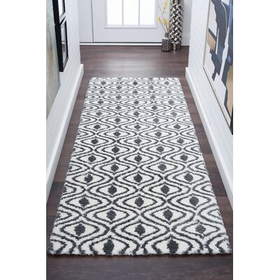 Arthemus Cream/Charcoal Geometric Area Rug Rug Size: Runner 27 x 73