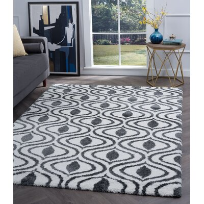 Arthemus Cream/Charcoal Geometric Area Rug Rug Size: Rectangle 710 x 103