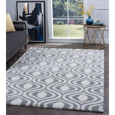 Arthemus Silver/Cream Geometric Area Rug Rug Size: Rectangle 53 x 73