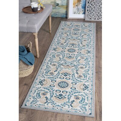Ashbrook Cream/Blue Area Rug Rug Size: Runner 23 x 11