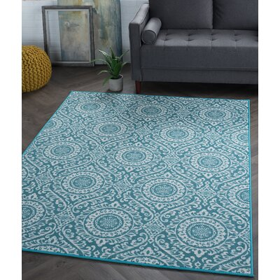 Corrina 3 Piece Teal Geometric Area Rug