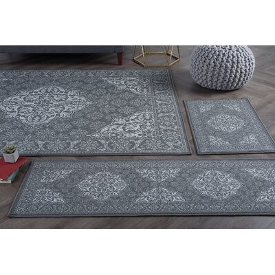 Broadfields 4 Piece Charcoal Area Rug