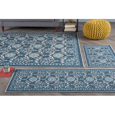 Corrina 3 Piece Navy Floral Area Rug
