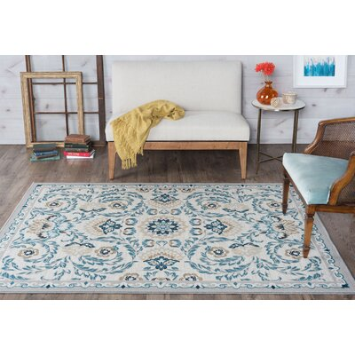 Ashbrook Cream/Blue Area Rug Rug Size: 76 x 910