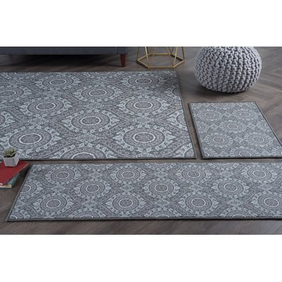 Corrina 4 Piece Charcoal Area Rug