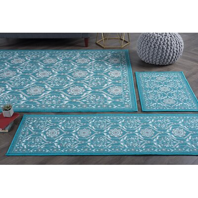 Corrina 3 Piece Teal Area Rug