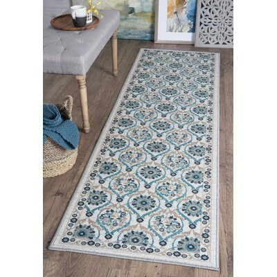 Ashbrook Cream/Green Area Rug Rug Size: Runner 2'3