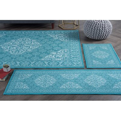 Warrensville 4 Piece Teal Area Rug