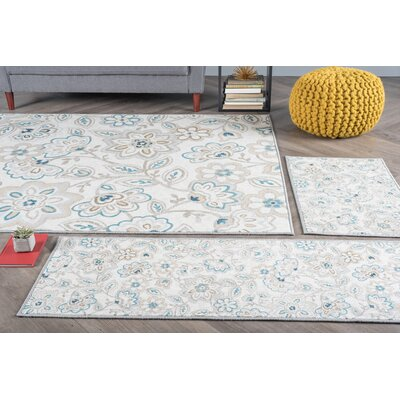 Corrina Transitional 3 Piece Cream Area Rug