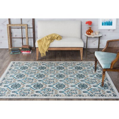Ashbrook Cream/Green Area Rug Rug Size: 6'7'' x 9'6''