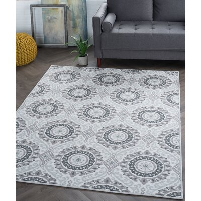 Ashbrook Ivory/Gray Area Rug Rug Size: 5 x 7
