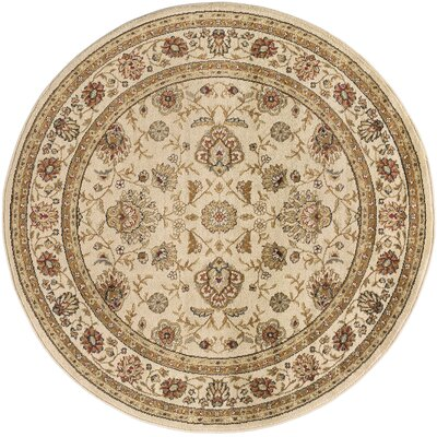 Lapoint Beige 5 ft. 3 in. Round Traditional Area Rug Rug Size: Round 53