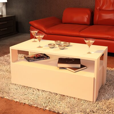 Quackenbush Modern Coffee Table Base Color: White Melamine