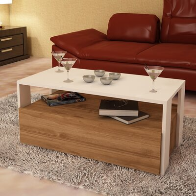 Quackenbush Modern Coffee Table Base Color: White/Brown Melamine