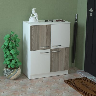 12 Pair Wood Shoe Storage Cabinet