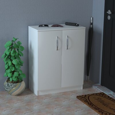 12 Pair White Shoe Storage Cabinet