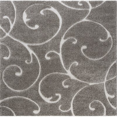 Edda Scrollwork Gray Area Rug Rug Size: Square 6