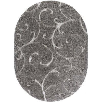 Edda Scrollwork Gray Area Rug Rug Size: Oval 4 x 6