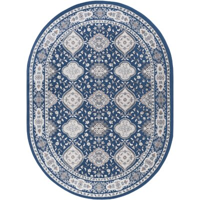 Dolphus Oriental Scatter Navy Area Rug Rug Size: Oval 5 x 8