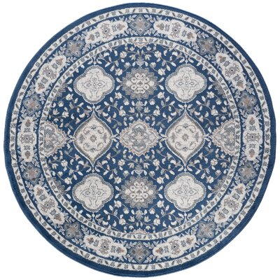 Dolphus Oriental Scatter Navy Area Rug Rug Size: Round 6