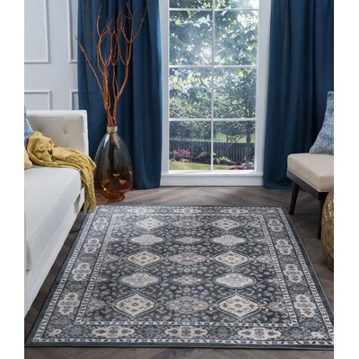 Dolphus Oriental Scatter Dark Gray Area Rug Rug Size: Rectangle 2 x 3