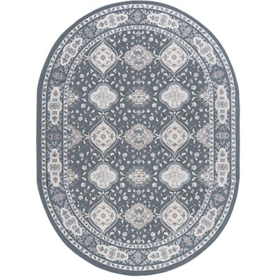 Dolphus Oriental Scatter Dark Gray Area Rug Rug Size: Oval 5 x 8