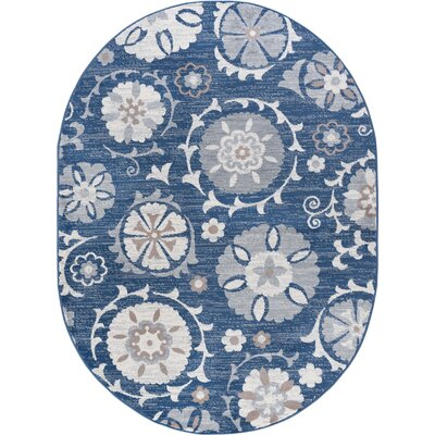 Majoros Oriental Scatter Navy Area Rug Rug Size: Oval 5 x 8