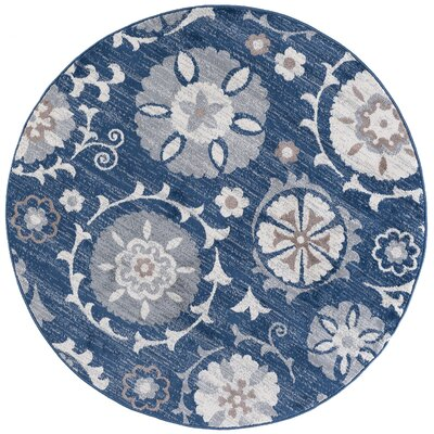 Majoros Oriental Scatter Navy Area Rug Rug Size: Round 6