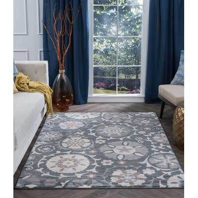 Majoros Oriental Scatter Navy/Gray Area Rug Rug Size: Rectangle 8 x 10