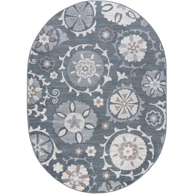 Majoros Oriental Scatter Navy/Gray Area Rug Rug Size: Oval 5 x 8