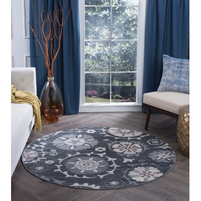 Majoros Oriental Scatter Navy/Gray Area Rug Rug Size: Round 6