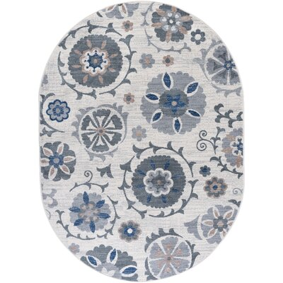 Majoros Oriental Scatter Navy/Cream Area Rug Rug Size: Oval 5 x 8