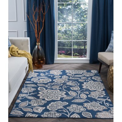 Majoros Modern Floral Navy Area Rug Rug Size: Rectangle 2 x 3