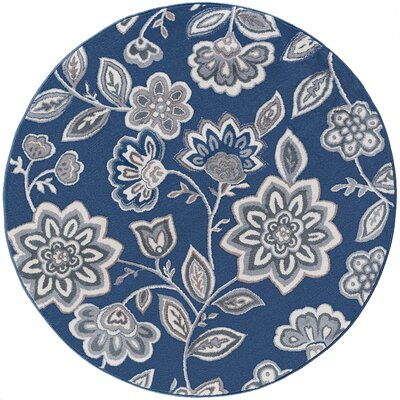 Majoros Modern Floral Navy Area Rug Rug Size: Round 53
