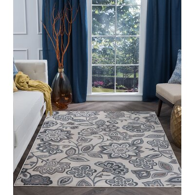 Majoros Modern Floral Cream Area Rug Rug Size: Rectangle 5 x 7