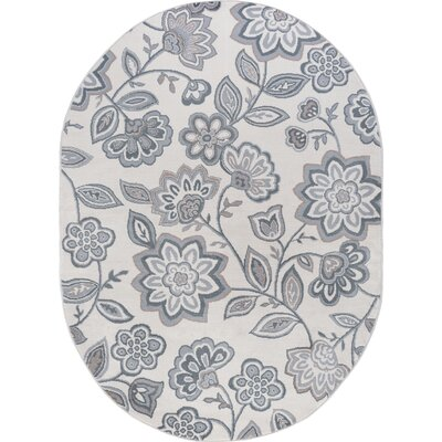 Majoros Modern Floral Cream Area Rug Rug Size: Oval 5 x 8