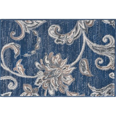 Majoros Floral Navy Area Rug Rug Size: Rectangle 2 x 3