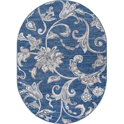 Majoros Floral Navy Area Rug Rug Size: Oval 5 x 8